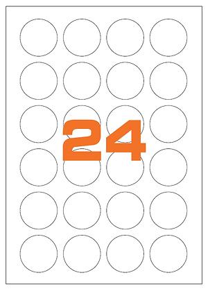 Etichette d40 mm in carta bianca su fogli A4