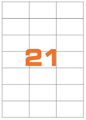 Etichette 70x42,3 mm in carta bianca su fogli A4