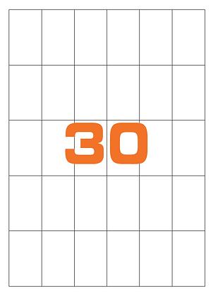 Etichette 35x59 mm in carta bianca su fogli A4