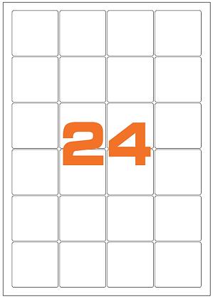Etichette 47,5x46,5 mm in carta bianca su fogli A4