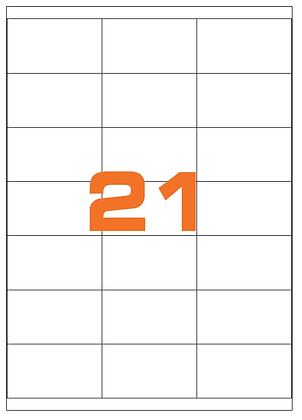 Etichette 70x40 mm in carta bianca su fogli A4