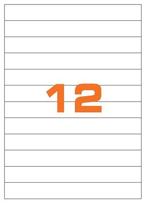 Etichette 210x25 mm in carta bianca su fogli A4