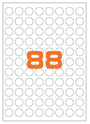 Etichette d20 mm in carta bianca su fogli A4