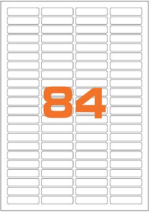 Etichette 46x11,1 mm in carta bianca su fogli A4