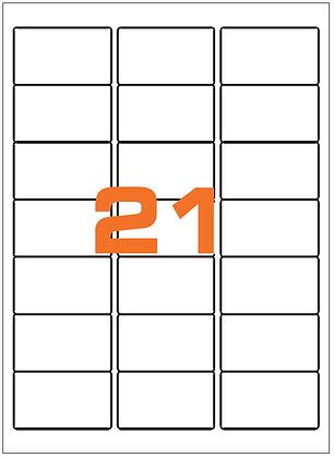 Etichette 63,5x38,1 mm in carta bianca su fogli A4