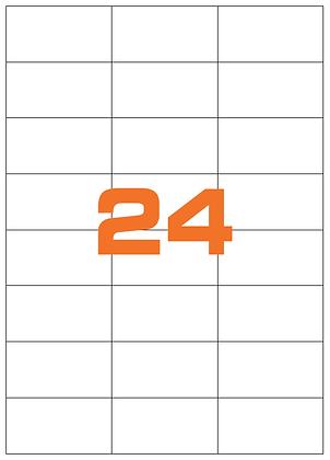 Etichette 70x37 mm in carta fluorescente in fogli A4