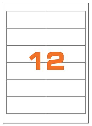 Etichette 97x42,3 mm in carta bianca su fogli A4