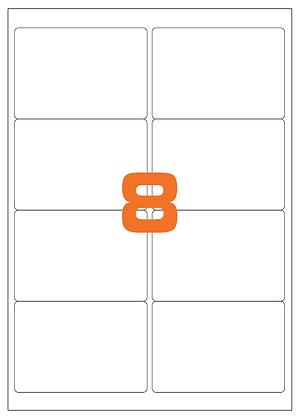 Etichette 99,1x67,7 mm in carta bianca su fogli A4