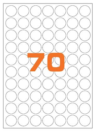 Etichette d26 mm in carta fluorescente in fogli A4