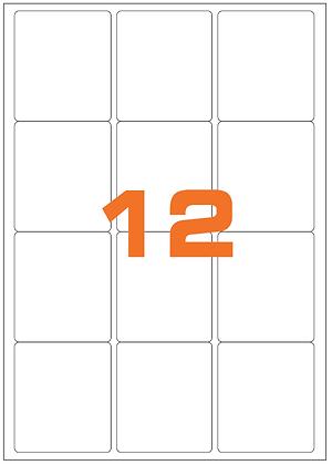 Etichette 63,5x72 mm in carta bianca su fogli A4