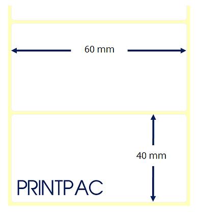 Etichette a trasferimento termico 60x40mm - Mandrino diametro 76mm