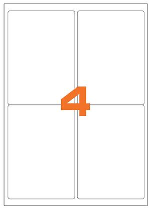Etichette 99,1x139 mm in carta bianca su fogli A4