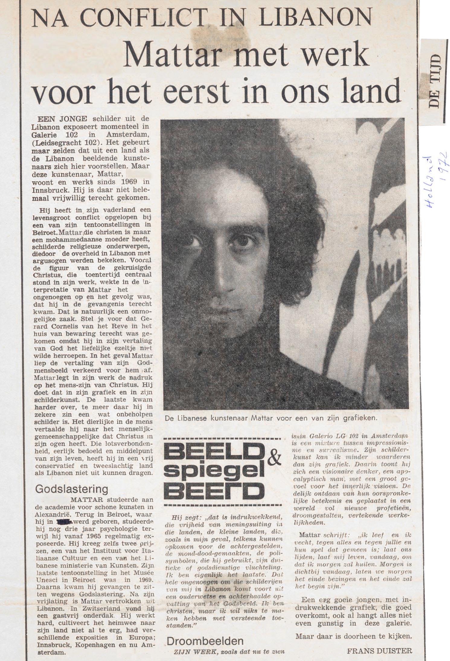Mattar Artist Zeitung Holland1972