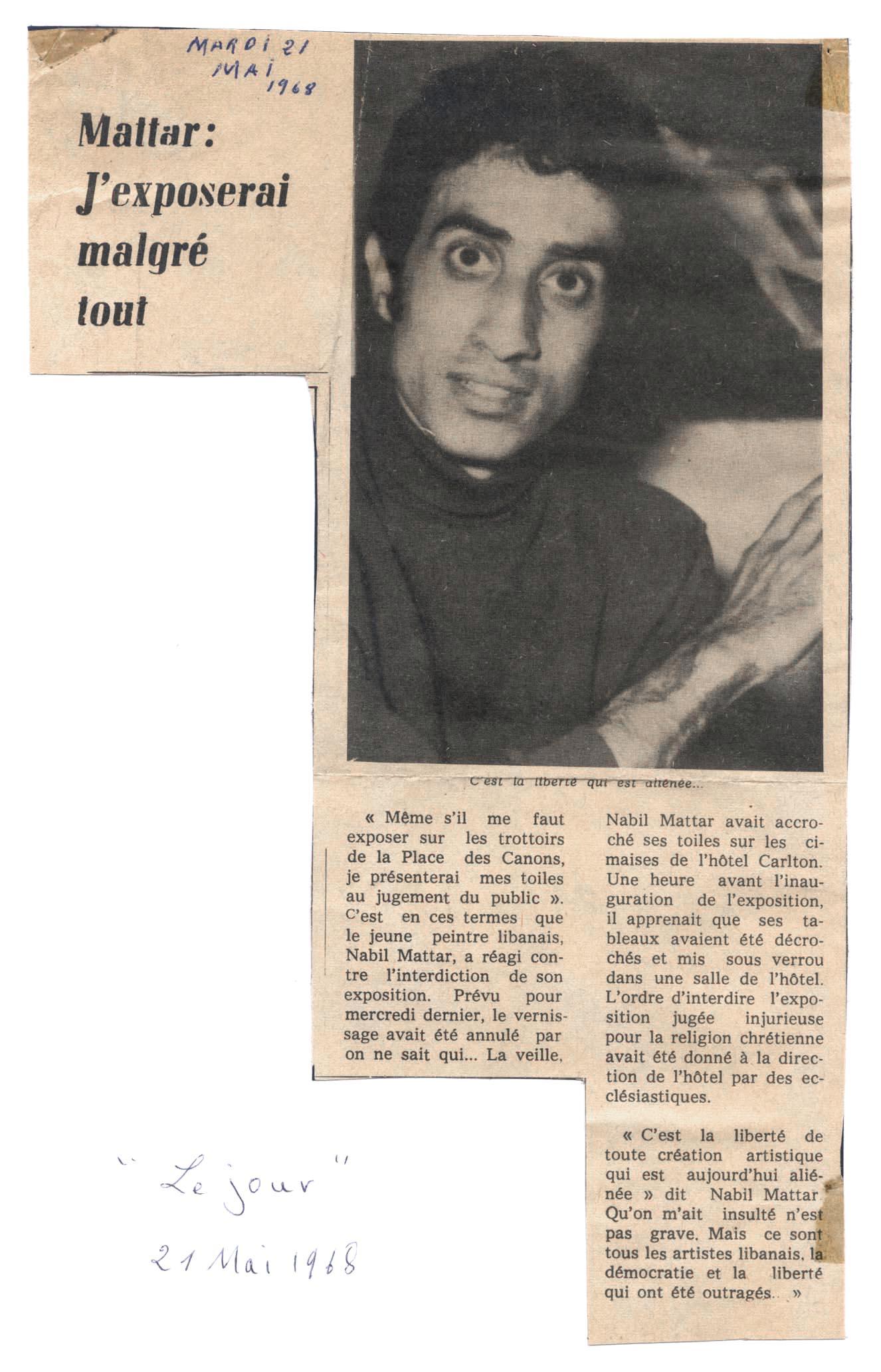 Mattar Kuenstler Zeitung LeJour1968