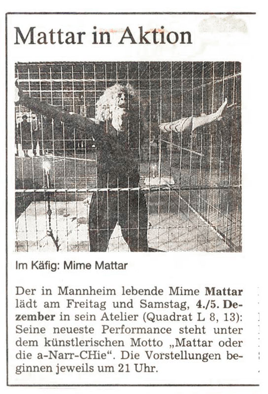 Mattar Zeitung MM Performance Artist