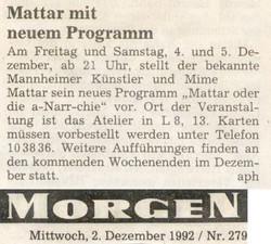 Mattar Kuenstler Zeitung MM1992