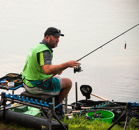 Colin Horn fishing at Hayfield Lakes