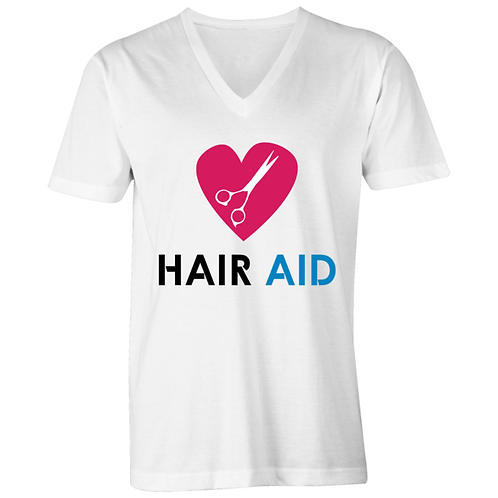 HAIR AID - White Mens V-Neck Tee