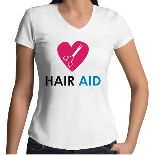 HAIR AID - White Womens V-Neck T-Shirt