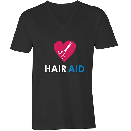 HAIR AID - Black Mens V-Neck Tee