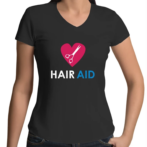 HAIR AID - Womens V-Neck T-Shirt