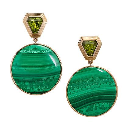 Malachite Deco Statement Earrings