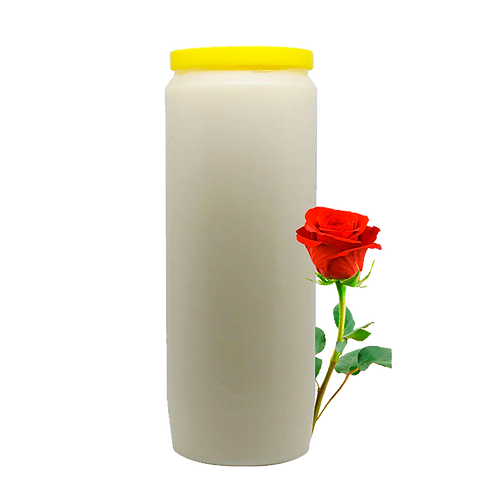 Bougie neuvaine blanche à la Rose /White candle novena with rose fragrance