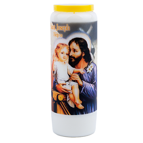Novena candle to Saint Joseph , help us