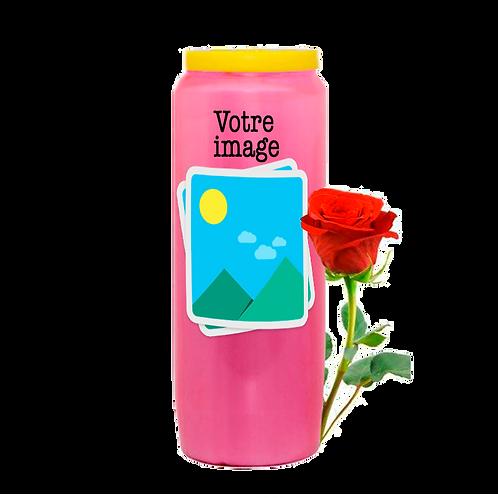 Bougie neuvaine rose avec VOTRE IMAGE - Parfum rose