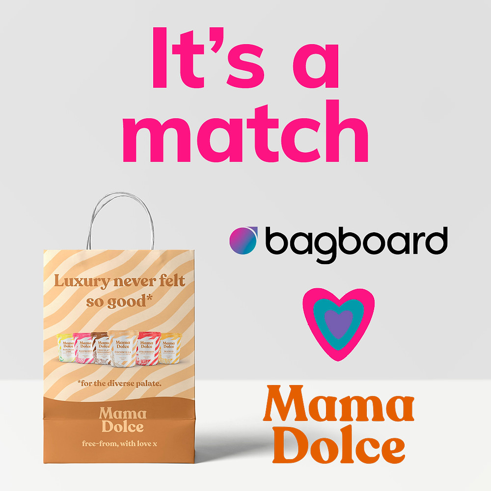 Bagboard recyclable paper smart bag featuring Mama Dolce