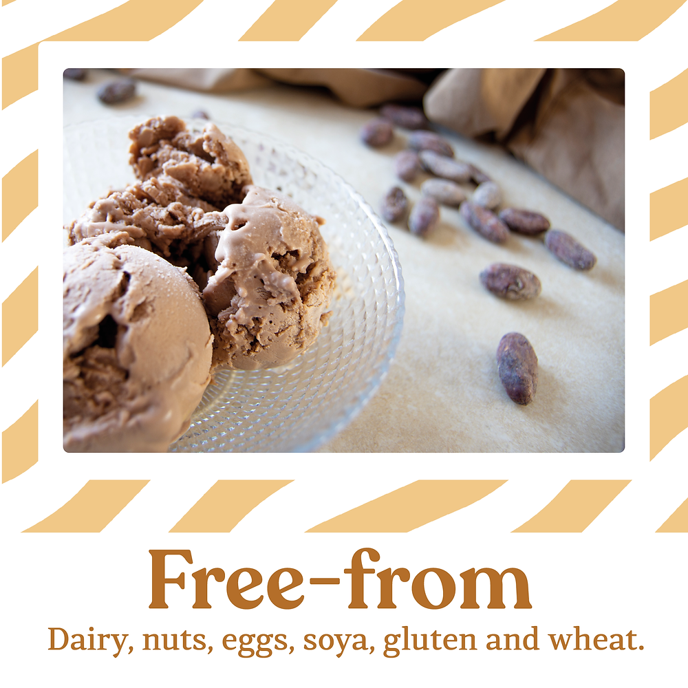 Mama Dolce is dairy free and gluten free, we're also free from eggs, nuts, soya and wheat