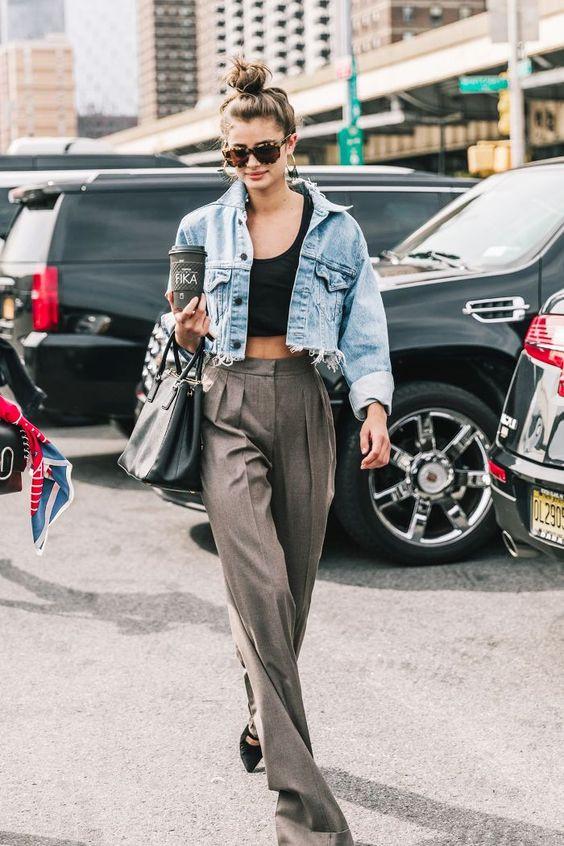 Looks de media estación: campera de jean