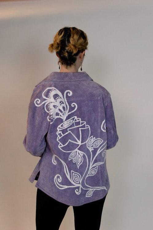 Painted lavender suede jacket