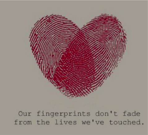 Neighbors For Refugees fingerprint heart with quote graphic