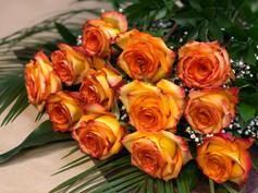 12 roses oranges 90$
