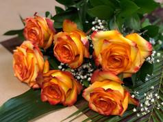 6 roses oranges 46$