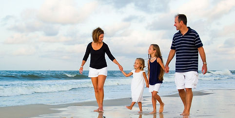 Happy family on beach, Happy, walking on beach,