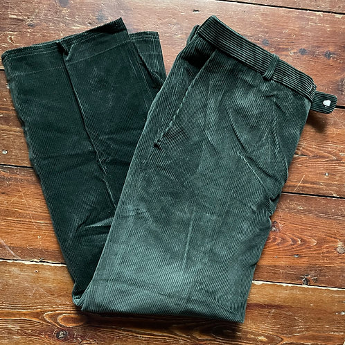 Dark Green Peasant Corduroy Trousers 34W 29L