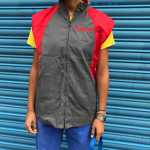 Small French Workwear Zip Vest. Grey and Red.
