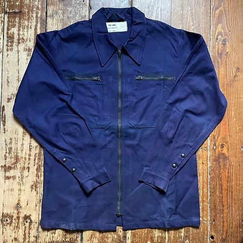 Dark Blue Poplin Cyclist Zip Jacket