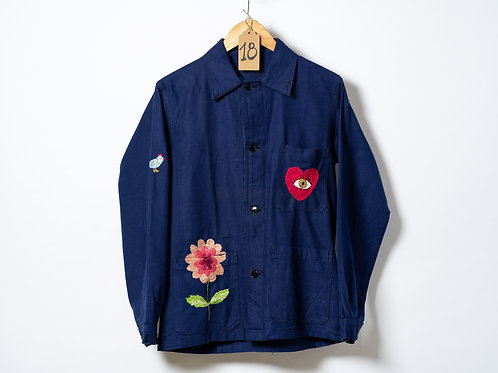 Becky Baur Embroidery Heart Dark Blue Jacket S/M
