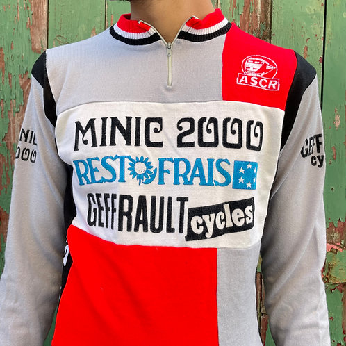 Grey and Red Gazelec Cycling Jersey Top S/M