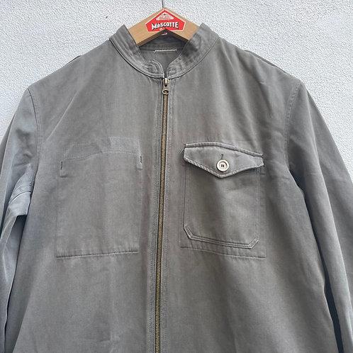 Grey Khaki Zip Biker Jacket