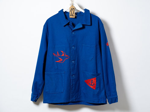 Becky Baur Red Red Nautical Embroidery Jacket M/L