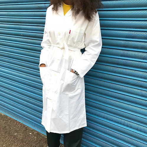 White Lab Coat, Long Workwear Jacket. Medium Size Adolphe Lafont