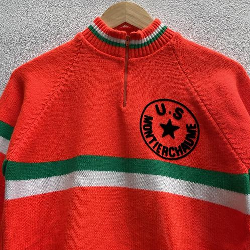 Orange and Green Cycling Jersey Top Long Sleeves Medium