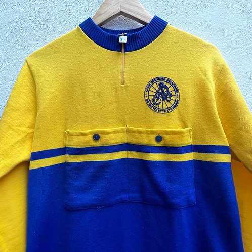 Blue and Yellow Cycling Jersey Top Long Sleeves Medium