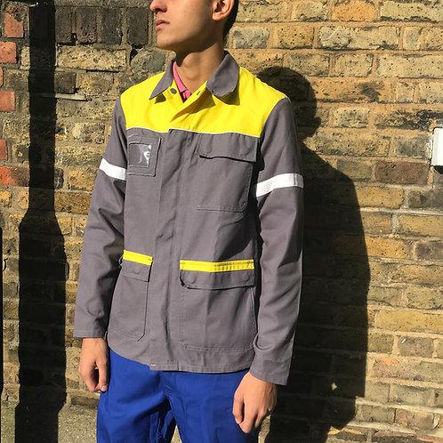 Grey and yellow French workwear jacket. Zipped, medium size