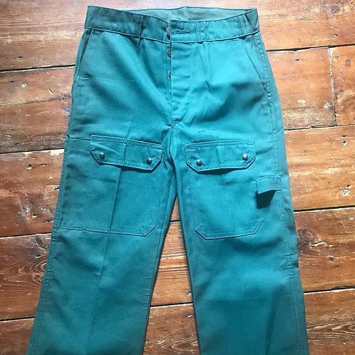 "Le Laboureur Zélisport Green Trousers. 26"" Waist Leg 32"""