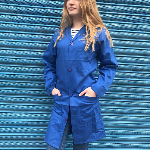 Long Workwear Jacket. Blue Lab Coat XS